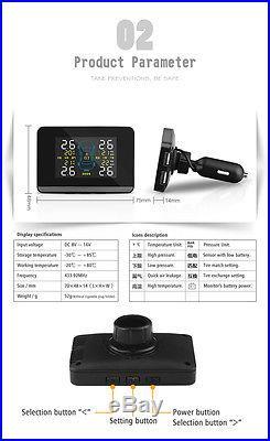 Universal Auto TPMS Tire Pressure Monitor System+4 Internal Sensors LCD Display