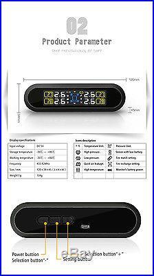 Universal Auto TPMS Tire Pressure Monitor System+4 Internal Sensors Solar Power