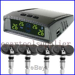 Universal Car Wireless Solar TPMS Tire Pressure Monitor System 4xBuilt-in Sensor
