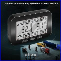 Wireless LCD TPMS Tire Pressure Monitoring System Fits RV + 10 External Sensors