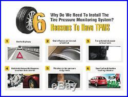 Wireless TMPS Tire Pressure Monitor System 4 Sensors Cigarette Lighter Adapter